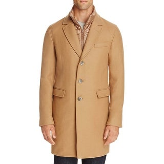 Herno Mens Beige Wool Blend Padded Overcoat with Bib Medium M 50 Made In Italy