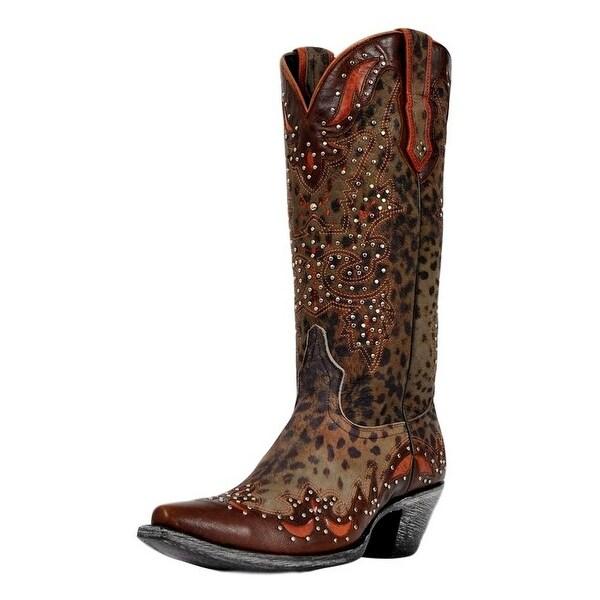Johnny Ringo Western Boots Womens Cheetah Print Studded Grey