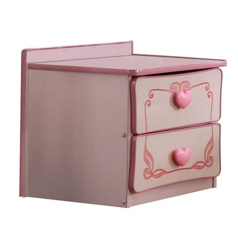 2 Drawer Wooden Nightstand with Heart Knob Pulls, Pink