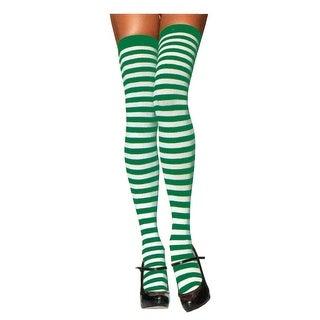 UA005WGR Morris Costumes Stockings Thi Hi Striped Wt/Gr,One Size