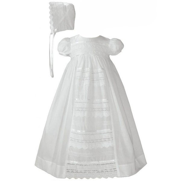 936710c0852 Shop Baby Girls White Cotton Venice Lace Short Sleeved Hat ...