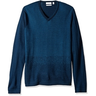 Calvin Klein NEW Blue Mens Size XL V-Neck Wool Printed Pullover Sweater