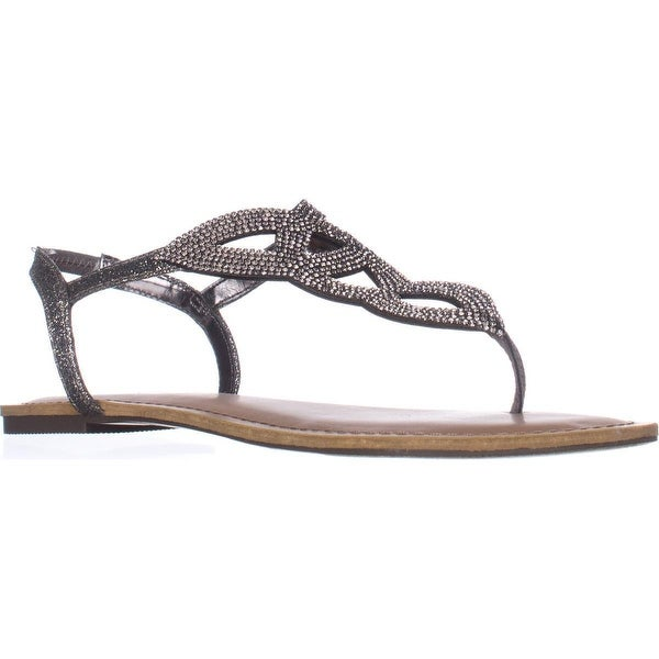 MG35 Swirlz Sparkle Flat Sandals, Pewter