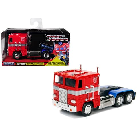 G1 Autobot Optimus Prime Truck Red with Robot on Chassis from 'Transformers' TV Series 'Hollywood Rides' Series Diecast by Jada