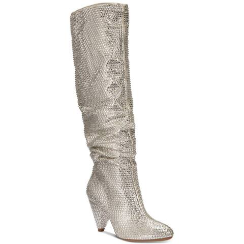 INC International Concepts Womens Gerii Fabric Almond Toe Mid-Calf Fashion Bo...