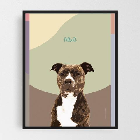 Animals Bull Terrier Dog Pit Bull Framed Wall Art Print