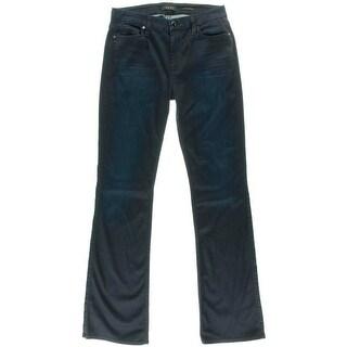 Jen 7 Womens Dark Wash High Waist Slim Bootcut Jeans