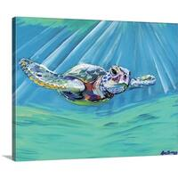 Anne Seay Premium Thick-Wrap Canvas entitled Turtle - Multi-color