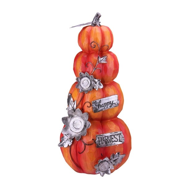 "19"" Orange and Silver Pumpkin ""Happy Harvest"" Autumn Statue Decoration - N/A"