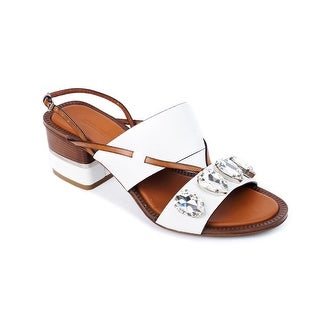 Roberto Cavalli Women's White Embellished Crystal Sandals