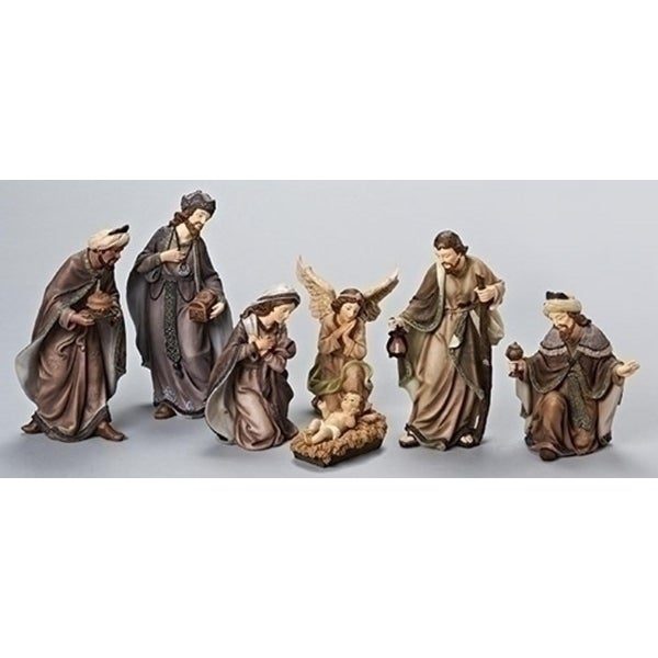 7-Piece Earth-Tone Religious Nativity Christmas Figure Set - brown