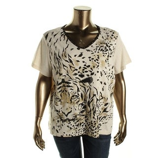 Alfred Dunner Womens Plus Metallic Short Sleeves Pullover Top