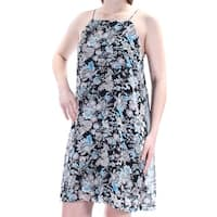 KENSIE Womens Black Lace Floral Spaghetti Strap Square Neck Above The Knee Shift Dress  Size: XS