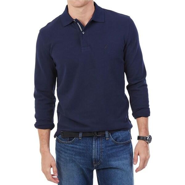 Nautica Mens Explorers Polo Shirt Long Sleeve Pique