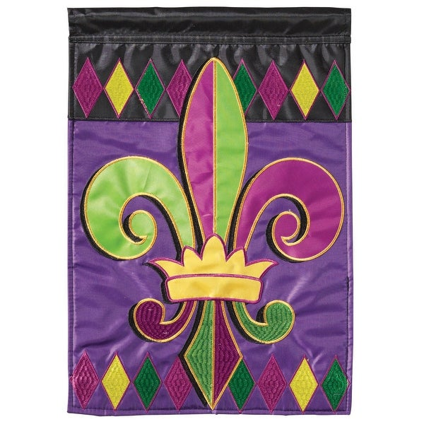 "Purple and Green Regal Fleur De Lis Rectangular Garden Flag 18"" x 13"" - N/A"