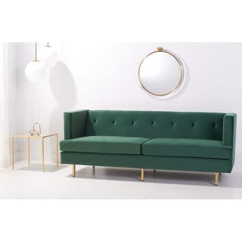 "Safavieh Couture Konrad Velvet Tufted Sofa - 82"" W x 31.5"" L x 31.3"" H"