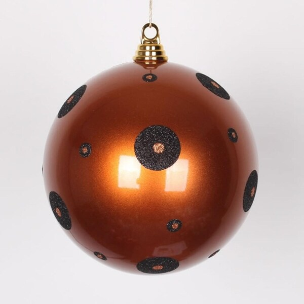 """Candy Copper with Black Glitter Polka Dots Christmas Ball Ornament 8"""" (200mm)"""