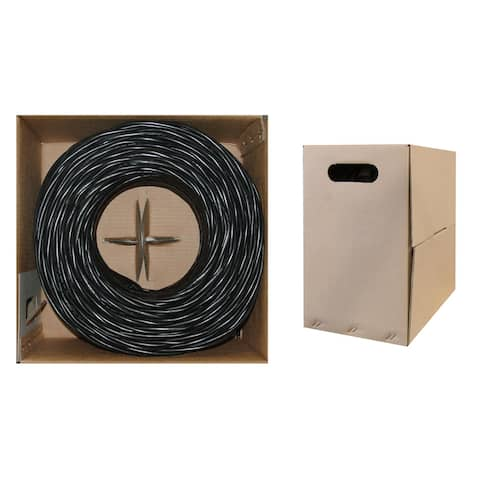 Offex Bulk Cat5e Black Ethernet Cable, Solid, UTP (Unshielded Twisted Pair), Pullbox, 1000 foot