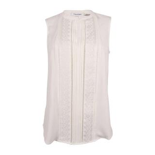 Calvin Klein Women's Sleeveless Embroidered Top (XS, Soft White) - xs