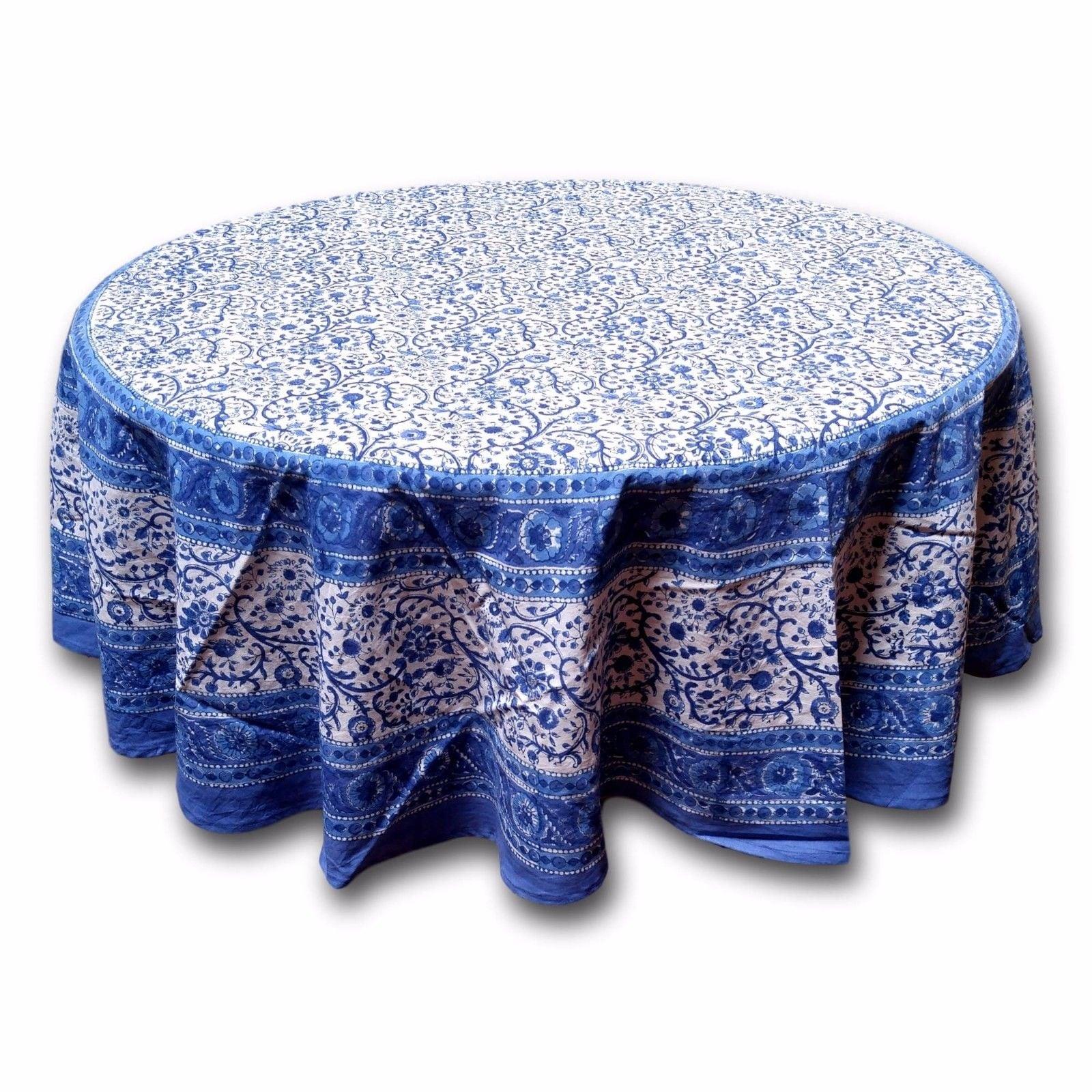 Rajasthan Block Print Floral Round Tablecloth Rectangular Cotton Table Napkins Placemats Runner - Thumbnail 8