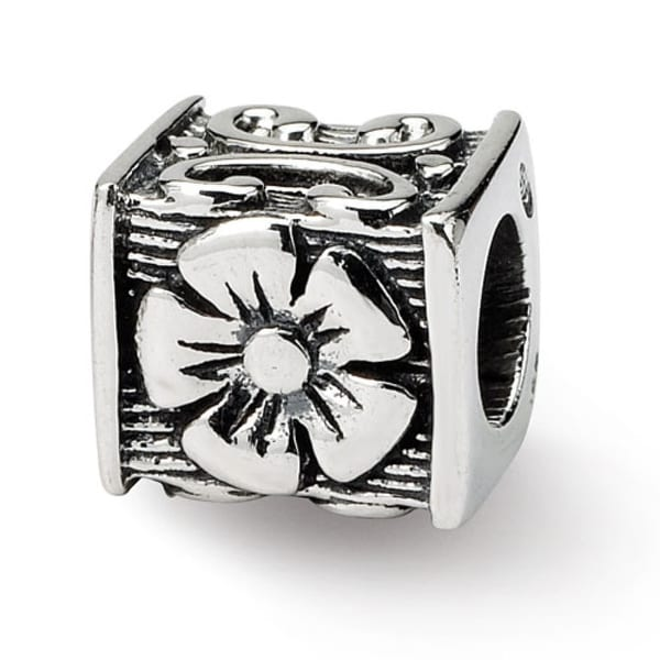 Sterling Silver Reflections Floral Cube Bead (4mm Diameter Hole)