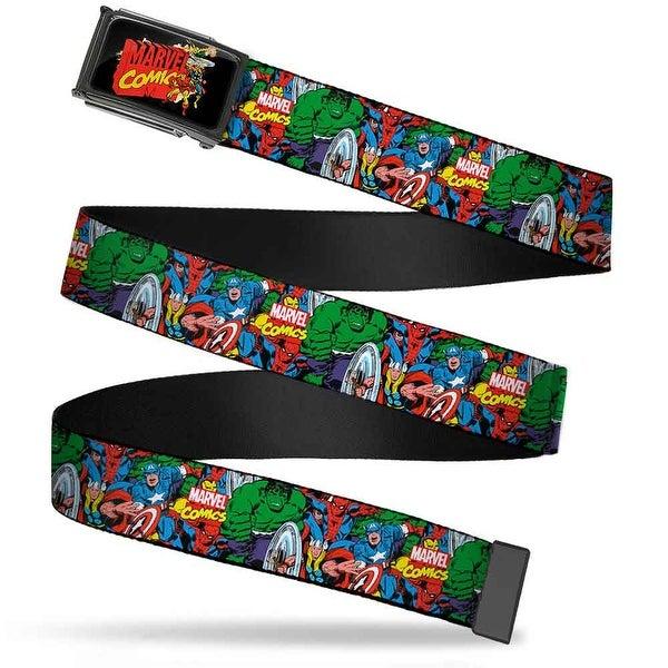 Marvel Comics Marvel Comics Characters Distressed Fcg Black Chrome Web Belt