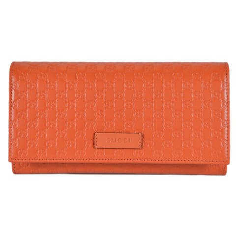 "Gucci Women's 449396 Orange Leather Micro GG Continental Bifold Wallet - 7.5"" X 4"" X 1"""