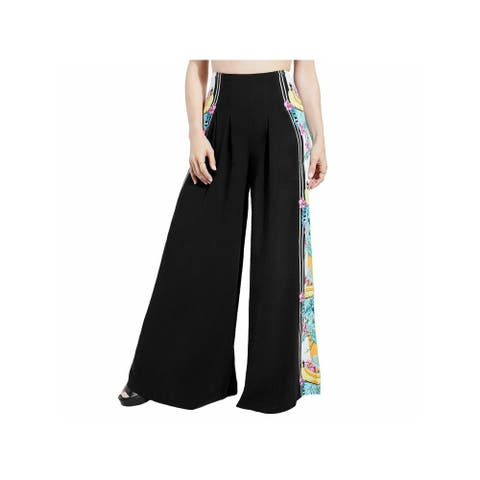 GUESS Womens Black Pleated Floral Wide Leg Pants Size XS
