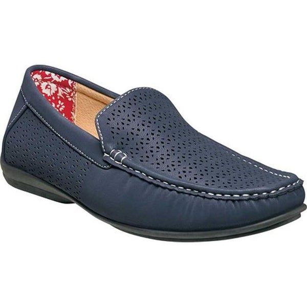 9a540b18c3c Stacy Adams Men  x27 s Cicero Perfed Moc Toe Loafer 25172 Navy Synthetic