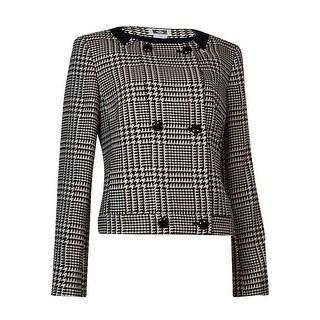Anne Klein Women's Plaid Houndstooth Double-Breasted Blazer (12, Black/Blush) - 12