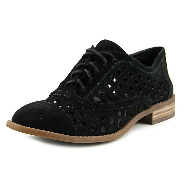 Jessica Simpson Dalasia Women Cap Toe Suede Black Oxford