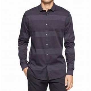 Calvin Klein NEW Solid Black Mens Size XL Slim Fit Button Down Shirt