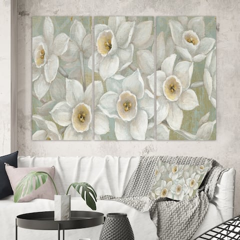 Designart 'Pure Pastel White flowers' Farmhouse Canvas Art
