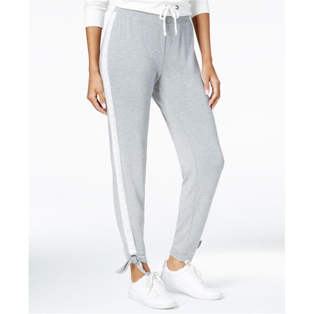 Maison Jules Womens Lace Trim Casual Jogger Pants