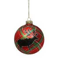 "Plaid Design with Reindeer Silhouette Glass Christmas Ball Ornament 4"" (100mm) - brown"