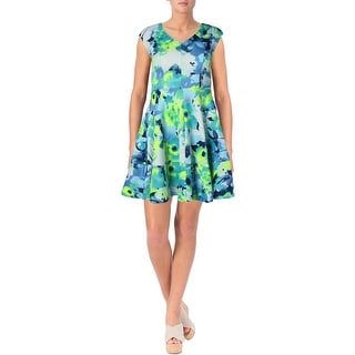 Aqua Womens Juniors Floral Print V-Neck Scuba Dress