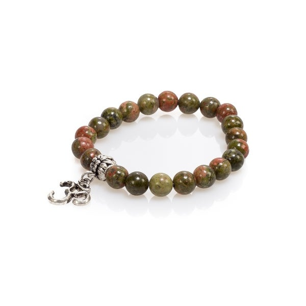Natural Stone Meditation Stretch Bracelet Tibetan Mala with Good Luck Om Charm, Jasper, Green Brown