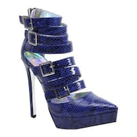 Luichiny Women's Take Me Back High Heel Cobalt Snake Imi Leather