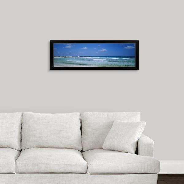 """Waves on the beach, Cancun, Quintana Roo, Mexico"" Black Framed Print"