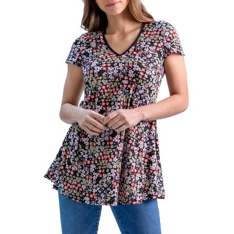 24seven Comfort Apparel Pink Floral Short Sleeve V Neck Tunic Top, R0042036DTZ, Made in USA