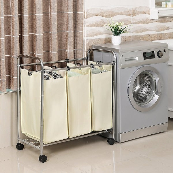 Vecelo Laundry Sorter Cart Basket Hamper On Wheels Clothes Organizer With 3 Removable Bags