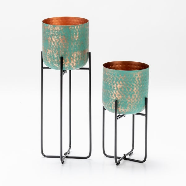 Set of 2 Planters, Copper Green Patina Finish. Opens flyout.