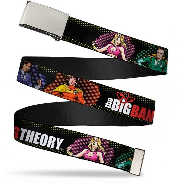 Blank Chrome Buckle The Big Bang Theory Superhero Character Poses Web Belt