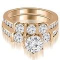 2.40 cttw. 14K Rose Gold Bar Set Round Cut Diamond Engagement Set - Thumbnail 0