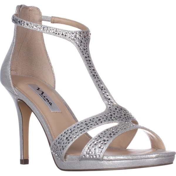 Nina Brietta T-Strap Evening Sandals, True Silver
