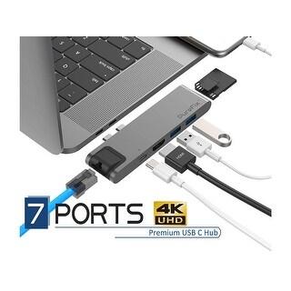 PureFix USB C Hub, 7in1 Dual Type-C Adapter - Space Grey For MacBook Pro 13 15