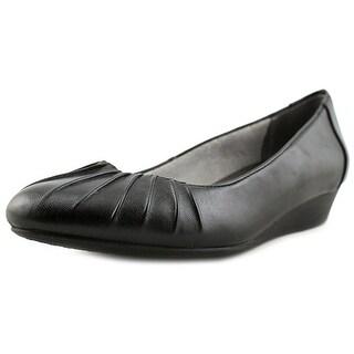 Life Stride Clever Women Open Toe Synthetic Black Wedge Heel