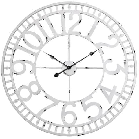 "Utopia Alley Manhattan Industrial Wall Clock, Analog, White, 32"""