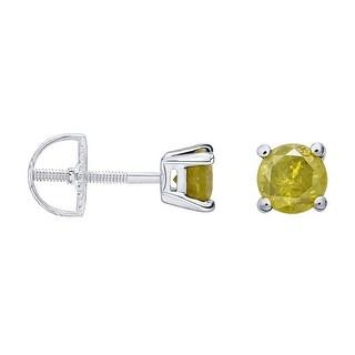 Prism Jewel Round Brilliant Cut Yellow Color Diamond Screw Back Stud Earring