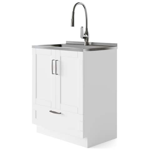 WYNDENHALL Alma Transitional 28 inch Laundry Cabinet with Pull-out Faucet and Stainless Steel Sink